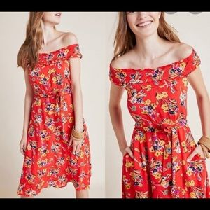 Conversations by Anthropologie Floral Red Dress